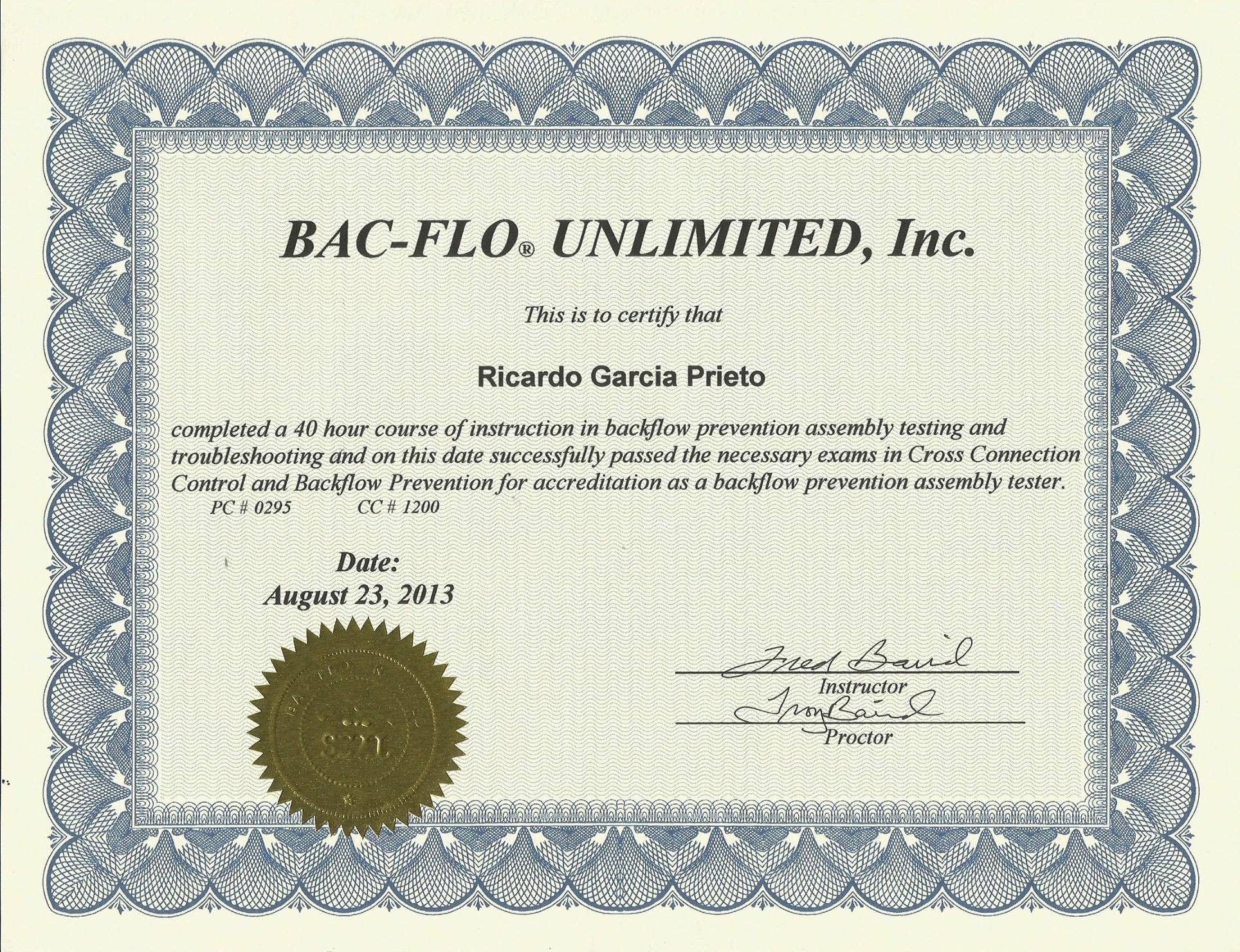 Bac-Flo Certified